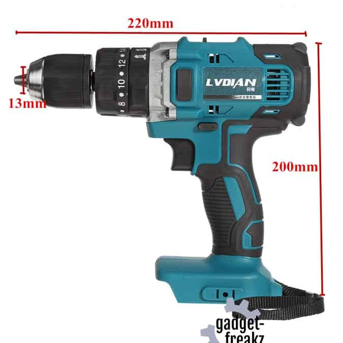 Makita 18v compatible 3-in-1 drill side view