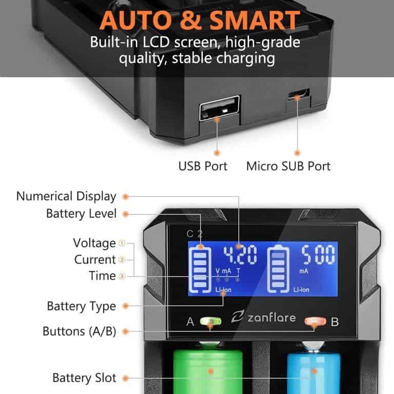 zanflare battery charger screen options