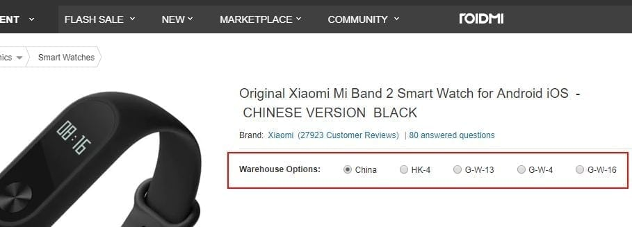 Gearbest warehouse options