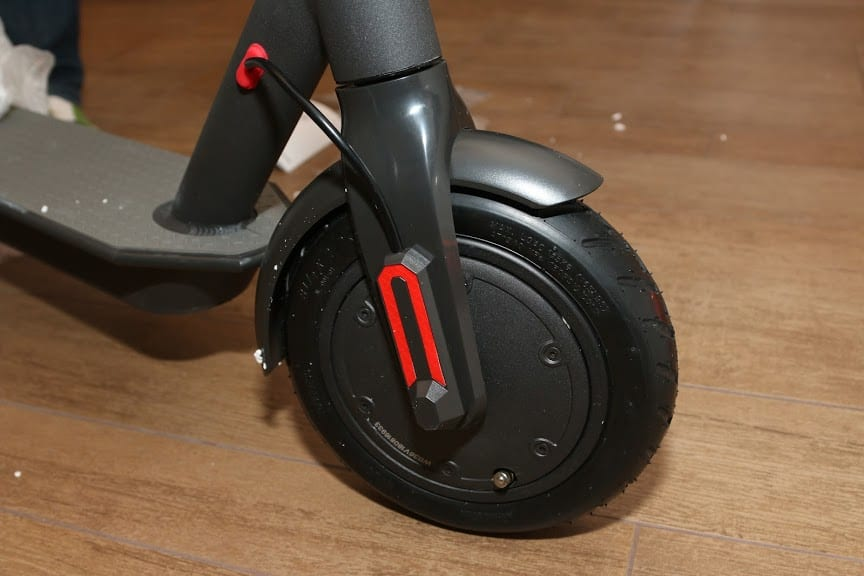 The front wheel which contains the brushless motor