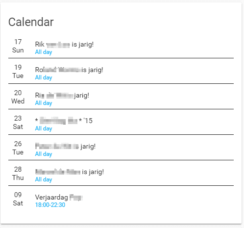 Birthday calendar-Home Assistant