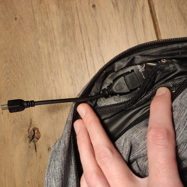 Canvas Backpack USB Cable installed
