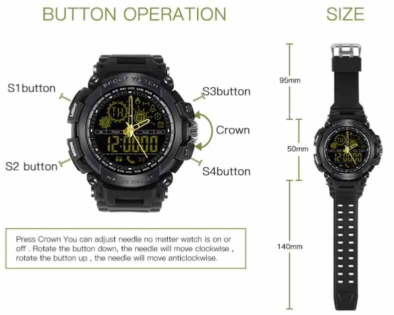 Diggro DI10 Smart Sport Watch Buttons