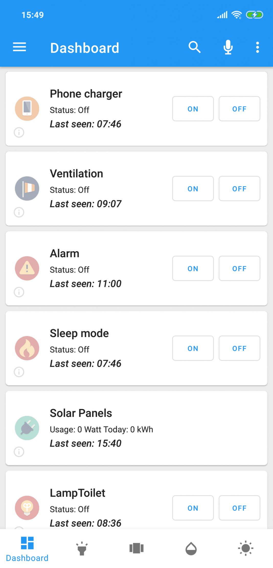 Domoticz app phone dashboard