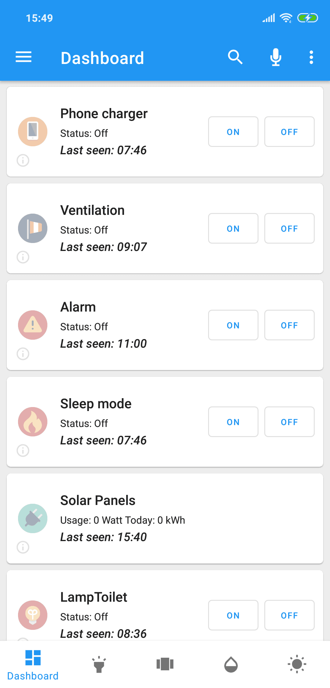 Domoticz app phone dashboard