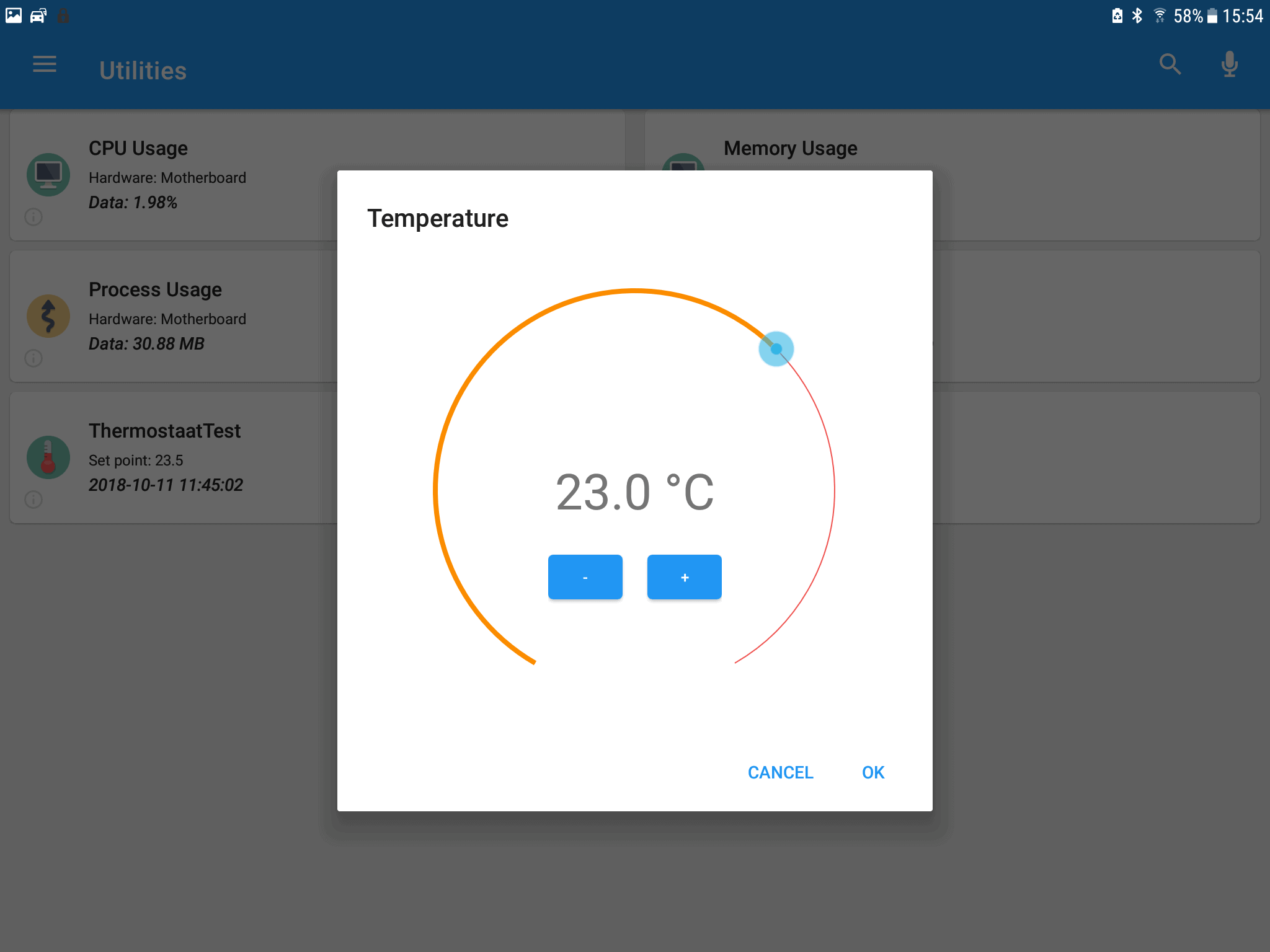Domoticz app tablet temperature