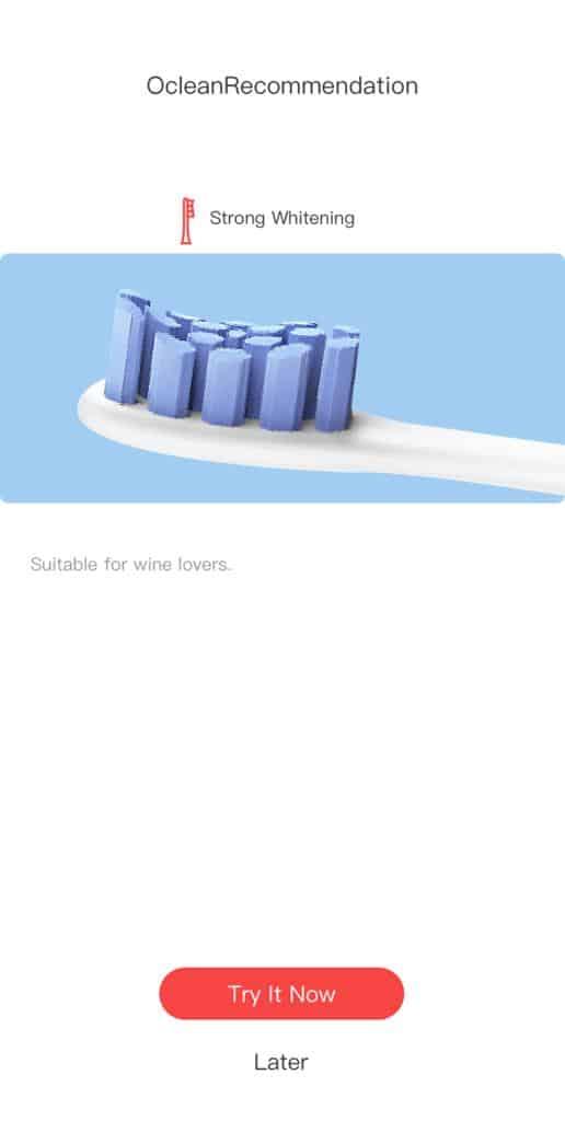 Oclean App Brush Head Recommendation