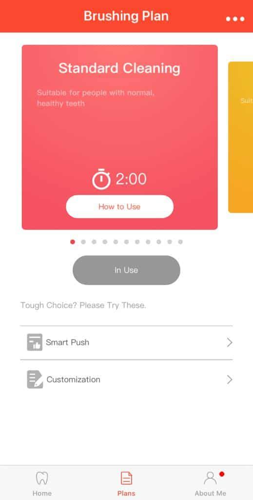 Oclean App Standard Brushing Plan