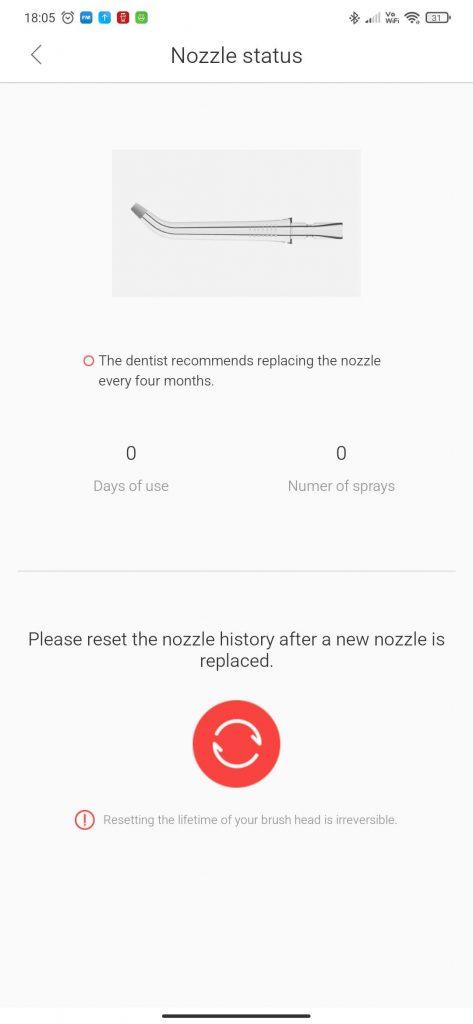 Oclean W1 Nozzle status