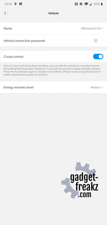 Segway App Vehikel info